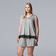 Plus Size Simply Vera Vera Wang Polka Dot Tank & Boxer Shorts Pajama Set