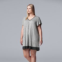 Plus Size Simply Vera Vera Wang Pleated V-Neck Sleepshirt