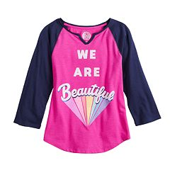 Girls 7-16 SO® 3/4 Sleeve Graphic Notch Neck Tee