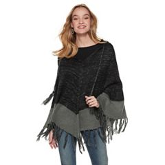 Women's Colorblock Hooded Poncho