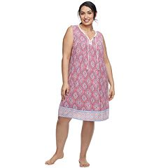 Plus Size Croft & Barrow® Printed Sleeveless Nightgown