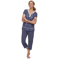 Women's Croft & Barrow® Printed Shirt & Capri Pajama Set