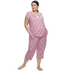 Plus Size Croft & Barrow® Printed Top & Capri Pajama Set