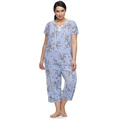 Plus Size Croft & Barrow® Printed Top & Capri Pajama Set