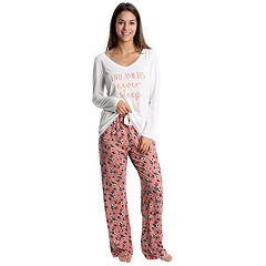 Juniors' WallFlower Graphic Tee & Printed Pants Pajama Set
