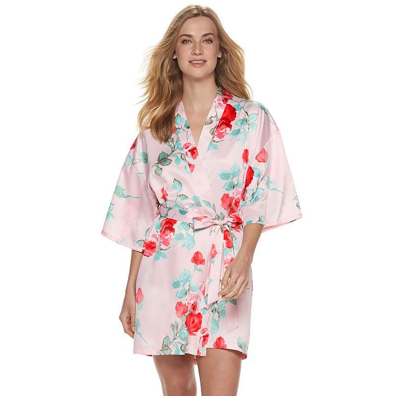 Women's Apt. 9 Satin Wrap Robe. Size: XS. Light Pink