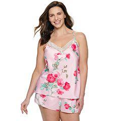 Plus Size Apt. 9® Satin Cami Top & Pajama Shorts Set