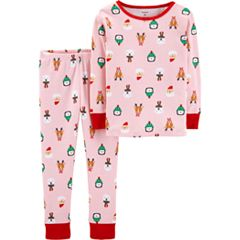 78ad07906001 Toddler Girl Carter s Holiday Top   Bottoms Pajama Set. Red Snowman Pink.  clearance