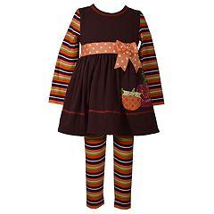 Baby Girl Bonnie Jean Pumpkin Dress & Striped Leggings Set
