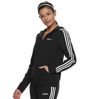 adidas Womens Essentials 3-stripes Fleece Full-zip Hoodie Sweatshirt