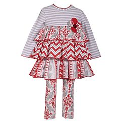 Baby Girl Bonnie Jean Tiered Dress & Print Leggings Set