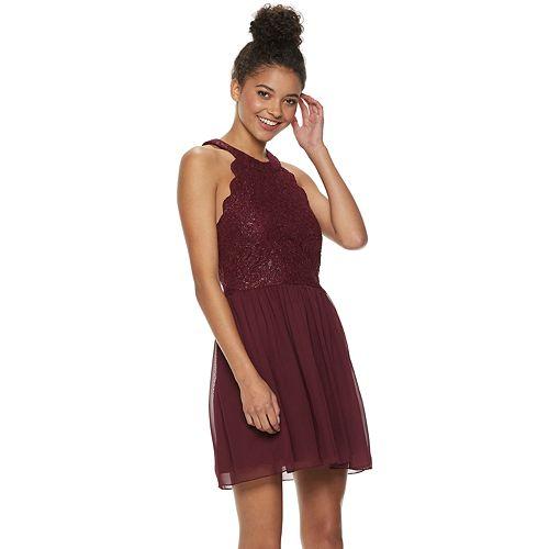 44bd9b61216 Juniors  Speechless Scallop Lace Skater Dress