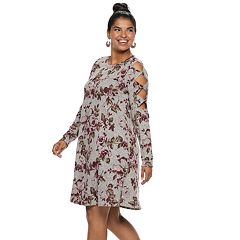 Juniors' Plus Size IZ Byer Cutout Shoulder Floral Sweaterdress