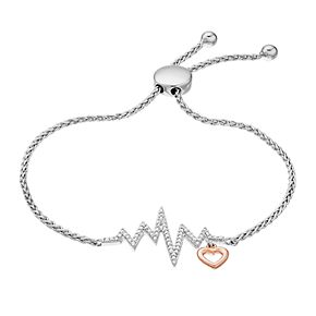 Two Tone Sterling Silver Diamond Accent Heartbeat Adjustable Bracelet