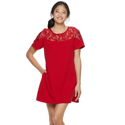 Juniors' Speechless Lace Illusion Yoke Shift Dress