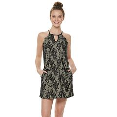 Juniors' Speechless Lace Keyhole Shift Dress