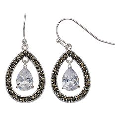 Silver Expressions by LArocks Marcasite & Cubic Zirconia Teardrop Earrings