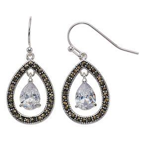 Silver Expressions by LArocks Marcasite & Cubic Zirconia Teardrop Earrings