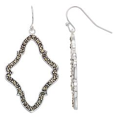 Silver Expressions by LArocks Marcasite Abstract Drop Earrings