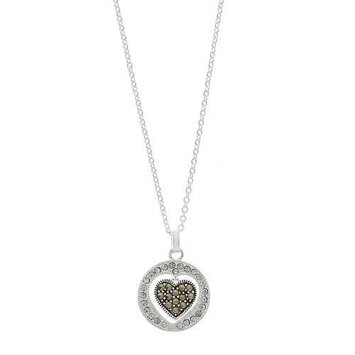 Silver Expression by LArocks Marcasite & Crystal Heart Pendant Necklace