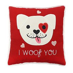 Celebrate Valentine's Day Together I Woof You Mini Throw Pillow