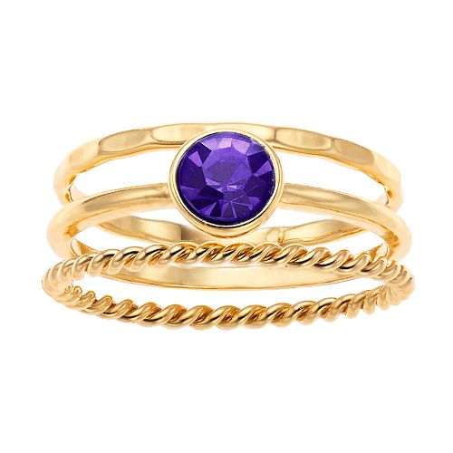 LC Lauren Conrad Simulated Birthstone Ring Set