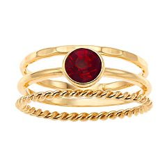 LC Lauren Conrad Simulated Birthstone Ring Set