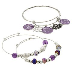 Purple Bead & Silver Tone 'Mom' Charm Bangle Bracelet Set
