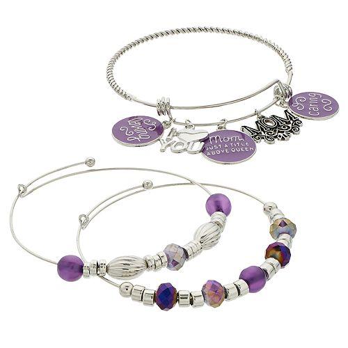 "Purple Bead & Silver Tone ""Mom"" Charm Bangle Bracelet Set"