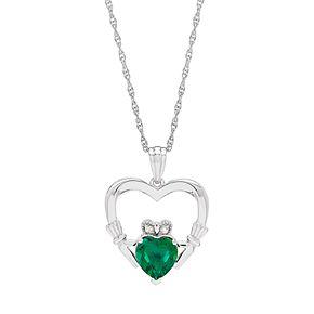 Lab-Created Emerald Diamond Accent Claddagh Pendant Necklace