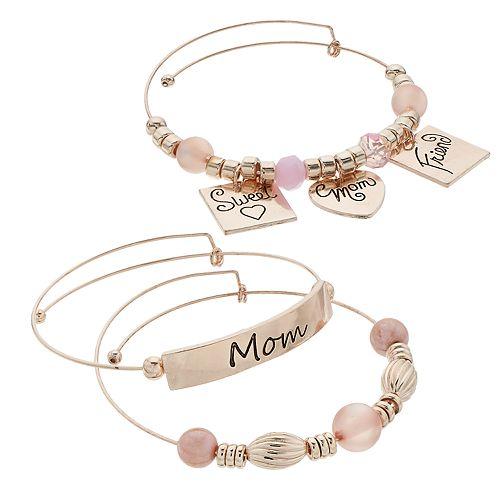"Pink Bead & Rose Gold Tone ""Mom"" Charm Bangle Bracelet Set"