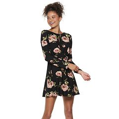 Juniors' Lily Rose Twist Front Swing Dress