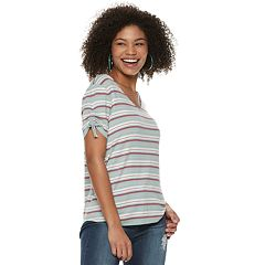 Juniors' Pink Republic Shirttail Short Sleeve Top