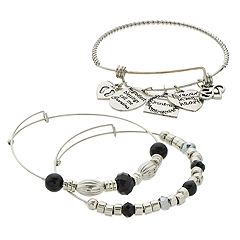 Black Bead & Silver Tone 'Grandma' Charm Bangle Bracelet Set