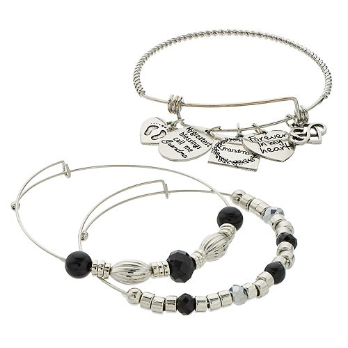 "Black Bead & Silver Tone ""Grandma"" Charm Bangle Bracelet Set"