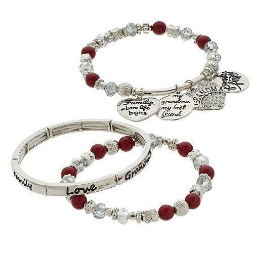 """Red Beads & Charms """"Grandma"""" Stretch Bracelet Set"""