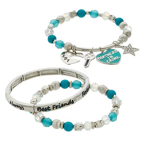 "Blue Bead & Simulated Stone ""Best Friends"" Charm Stretch Bracelet Set"