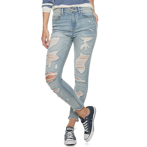 Juniors' Mudd® High Rise Destructed Denim Ankle Jeggings