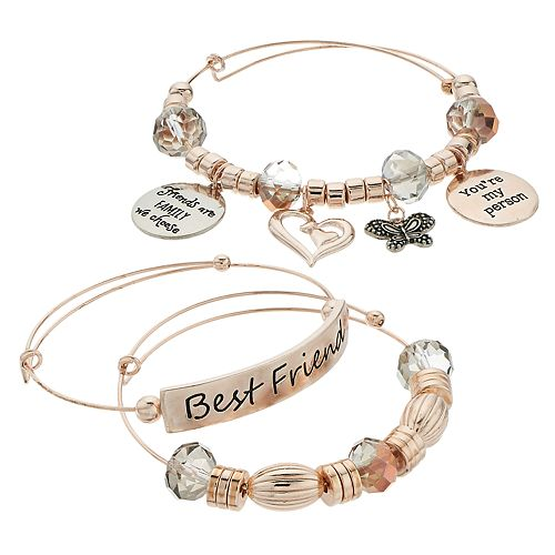 "Rose Gold Tone Charm & Bead ""Best Friends"" Bangle Bracelet Set"