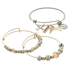 Two Tone Bead & 'Faith, Love' Charm Bangle Bracelet Set