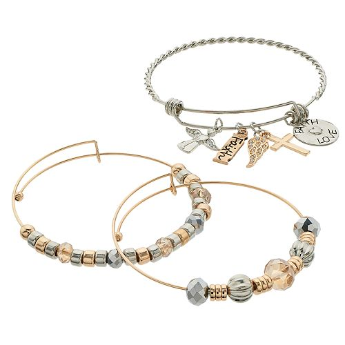 "Two Tone Bead & ""Faith, Love"" Charm Bangle Bracelet Set"