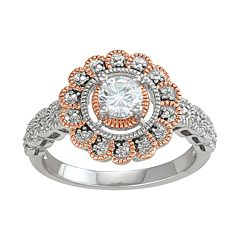 Lily & Lace Cubic Zirconia 14k Rose Gold Over Brass Flower Halo Ring