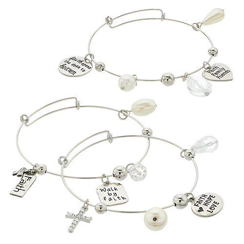 "Simulated Pearl & Bead Silver Tone ""Faith"" Charm Bangle Bracelet Set"