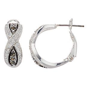 Silver Expressions by LArocks Marcasite & Crystal Crisscross Hoop Earrings