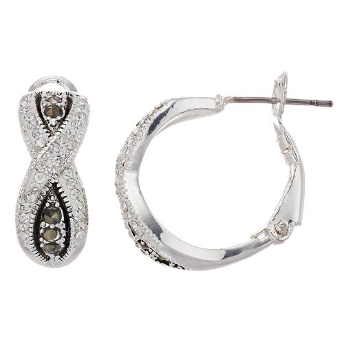 Silver Expressions by LArocks Marcasite & Crystal Crisscross Hoop Earrings