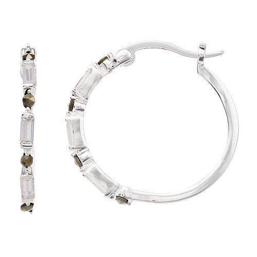 Silver Expressions by LArocks Marcasite & Cubic Zirconia Hoop Earrings