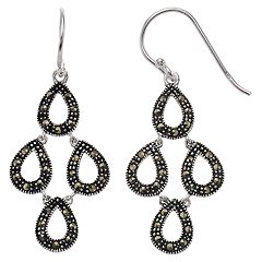 Silver Expressions by LArocks Marcasite Multi Teardrop Earrings