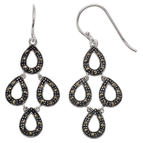 Silver Expressions by LArocks Marcasite Multi Teardrop Earrings