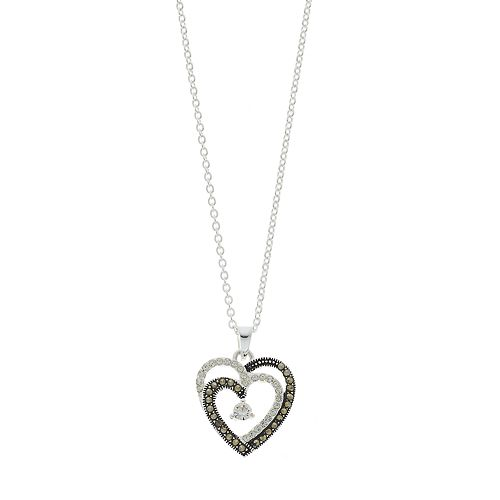 Silver Expressions by LArocks Marcasite & Cubic Zirconia Heart Necklace