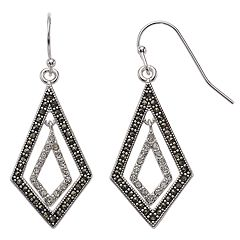 Silver Expressions by LArocks Marcasite & Crystal Geometric Drop Earrings